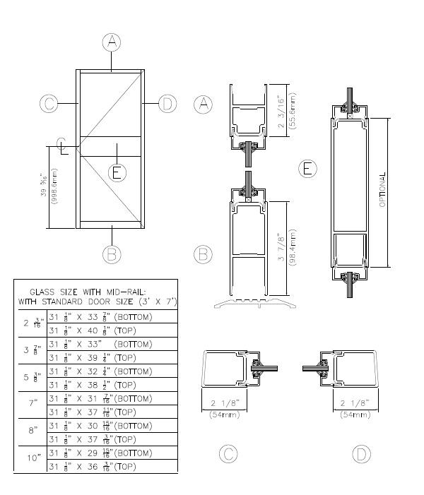 210 Narrow Stile Series 210 Narrow Stile Door With Mid Rail