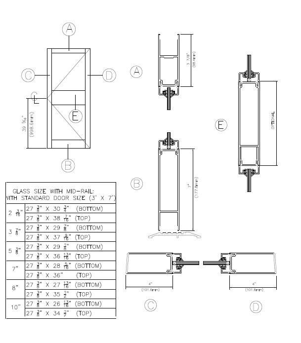 ... Threshold; Door Sweep  sc 1 st  Ontario Aluminum u0026 Glass & 400 Medium Stile Series - 400 Medium Stile Door with Mid-Rail
